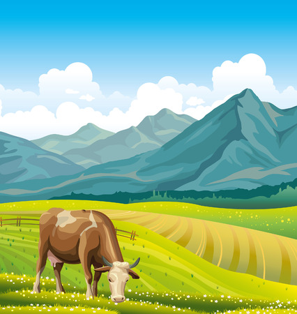 Cartoon cow and rural meadow with green grass on the mountain background.