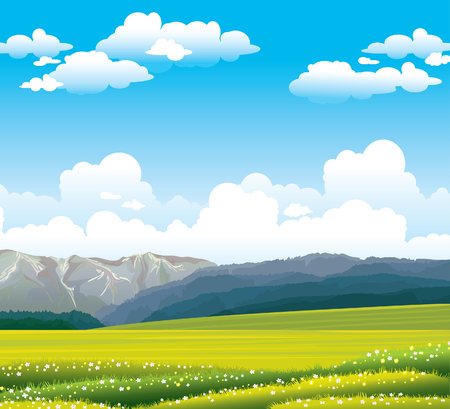 grass land: Green flowering field with forest and mountains on a blue sky with clouds.