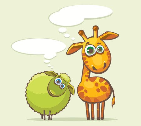 sheep eye: Cartoon funny animal - giraffe and sheep looking with surprise and thinking about something.