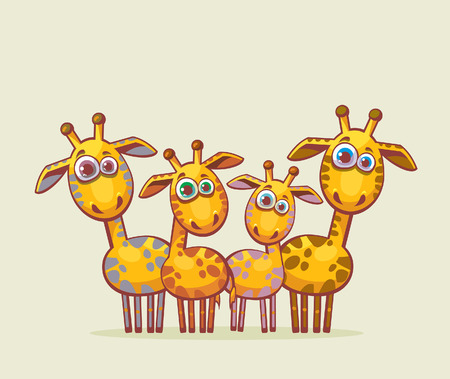 four eyes: Cartoon animal family - four funny yellow giraffes looking with surprise. Illustration