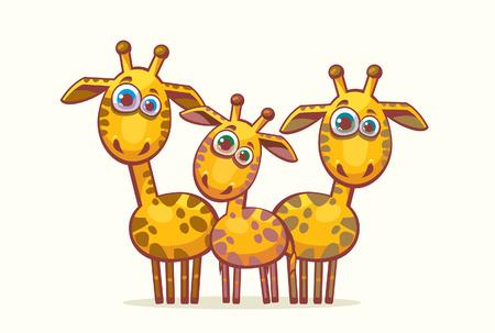 Three cartoon orange giraffes looking with surprise. Stock Vector - 29816303