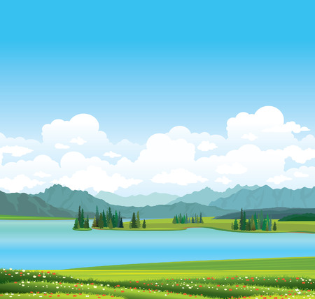 lake of the woods: nature landscape  - green grass with red flowers and blue lake with mountains on a blue sky.