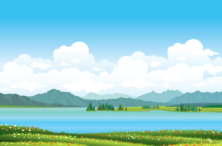 Green grass with red flowers and blue lake on a mountains background.  Illustration