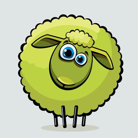 Cartoon fanny green sheep with blue big eyes.  Vector