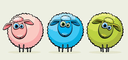 Three cartoon funny sheeps with big blue eyes. Vectores