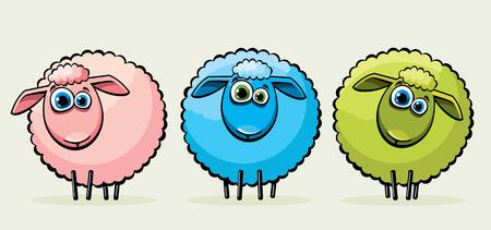 Three cartoon funny sheeps with big blue eyes. Illustration