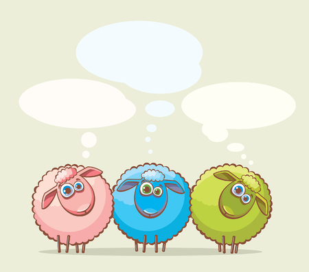 sheep wool: Three cartoon funny sheeps with big blue eyes. Illustration
