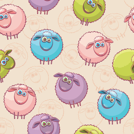 sheep eye: Seamless pattern with cartoon funny sheeps.