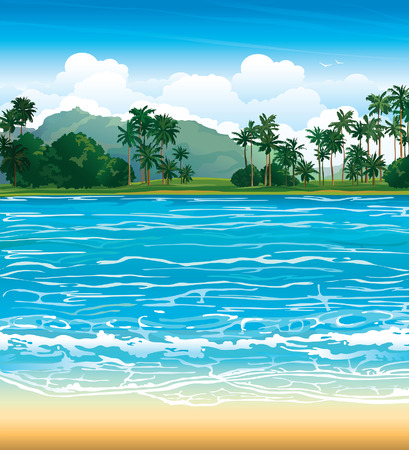 Tropical landscape with blue sea and palms.
