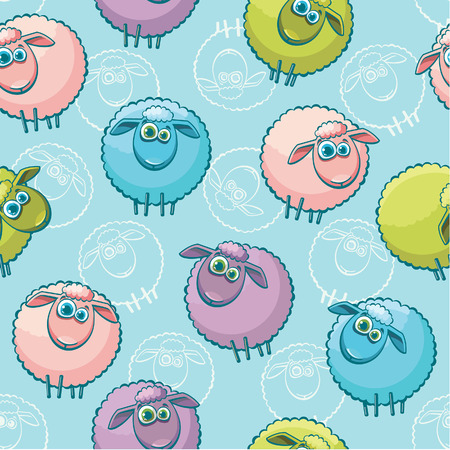 baby lamb: Seamless pattern with cartoon funny sheeps.