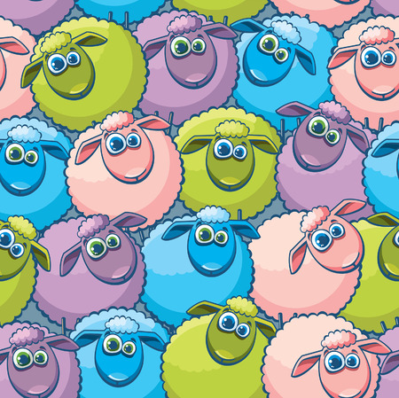 Seamless pattern with cartoon funny sheeps.  Vector