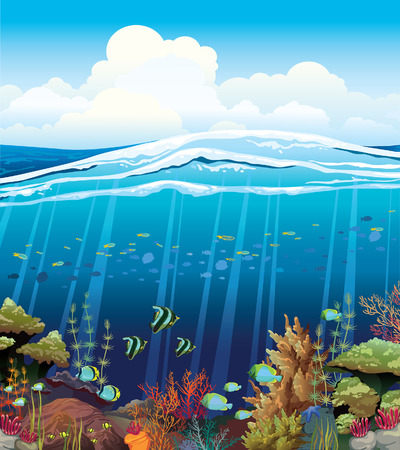 Coral reef with underwater creatures and blue cloudy sky   Vector
