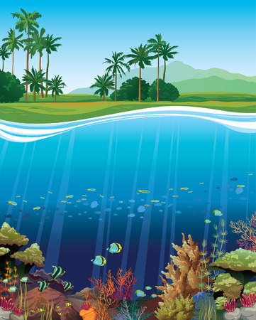 coral reef: Coral reef with underwater creatures and green island with palm on a blue sky