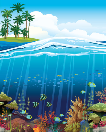 underwater light: Coral reef with underwater creatures and green island with palm on a blue sky