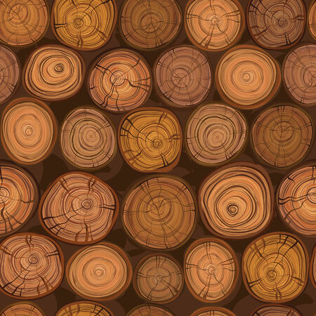 rings on a tree: Seamless wood texture of cut tree trunk pattern  Illustration