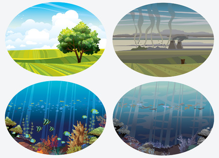 icons of global pollution on the earth  Eco concept  Illustration