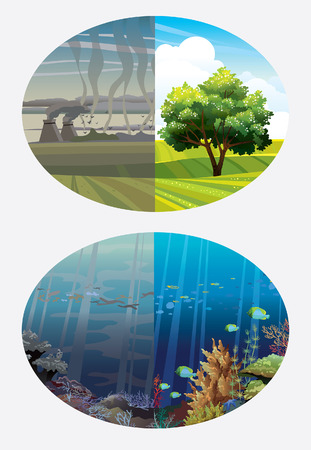 Illustration of two variant - dirty and clean nature  Global pollution   Vector