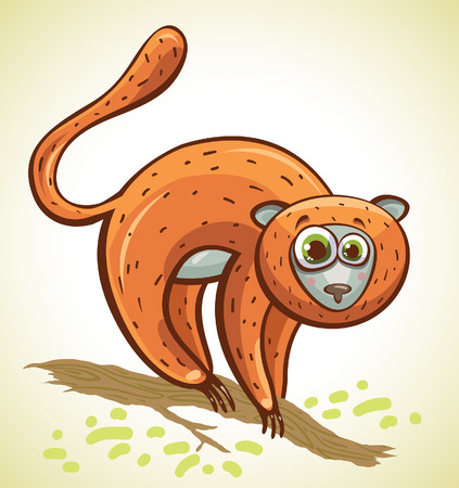 tailed: Cartoon funny lemur with big blue eyes on a branch  Vector animal  Illustration