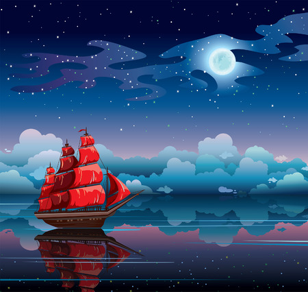 Red sailboat and starry sky with full moon reflected in calm sea  Night nature vector seascape  Illustration