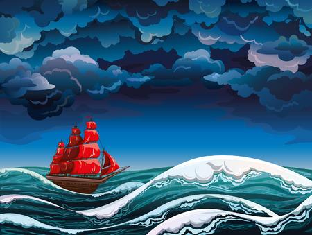 Paisaje marino de noche con velero rojo y cielo tormentoso Vector naturaleza Ilustración de vector