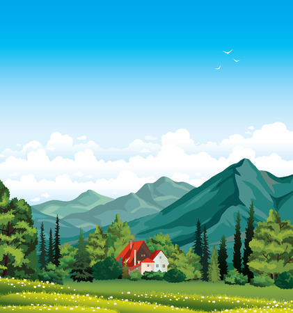 Summer landscape with green forest, blossom field, mountains and house with red roof on a blue cloudy sky
