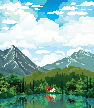 lake house: Mountains, house with red roof and green forest reflecting in calm lake on a cloudy sky background  Summer nature vector landscape  Illustration