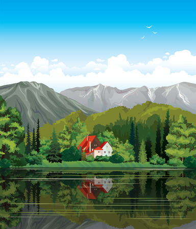lake house: House with red roof and green forest reflecting in the calm lake  Nature summer vector landscape