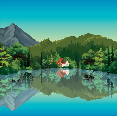 lake house: Summer landscape with green forest and house with red roof reflecting in the calm lake  Nature vector  Illustration