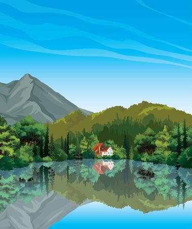 lake house: Summer landscape with green forest and house with red roof reflecting in calm lake  Nature vector  Illustration