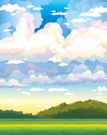Green field and forest on a cloudy sky background. Nature vector landscape.