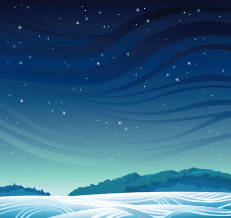 Winter night landscape - frozen forest and magic starry sky.
