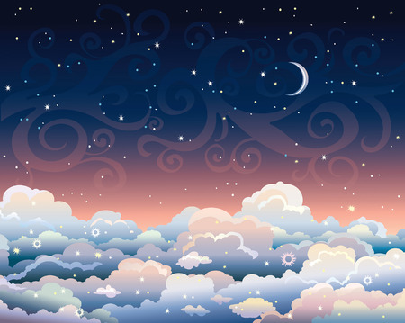 Nigth starry sky with cumulus clouds and blue moon.  Illustration