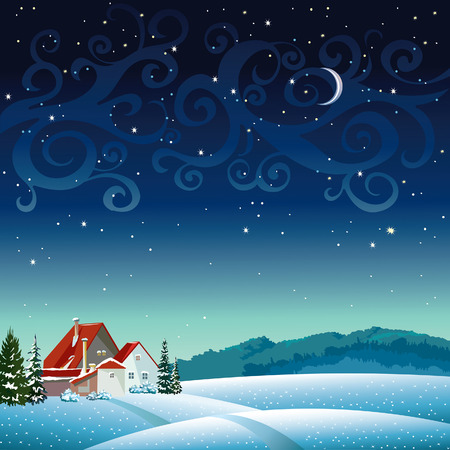 Winter night landscape with village on a starry sky.  Vector