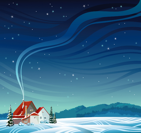 Winter night with house and smoke on a starry sky. Vector