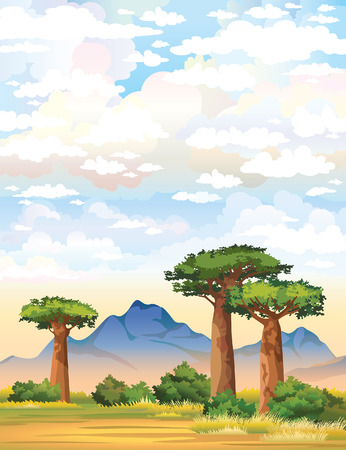 Green baobabs and mountain on a cloudy sky. Nature landscape. Illustration