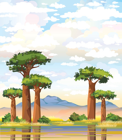 African landscape with green baobabs and mountain on a cloudy sky background.