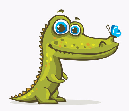 Cartoon green crocodile with blue eyes and butterfly. Vector