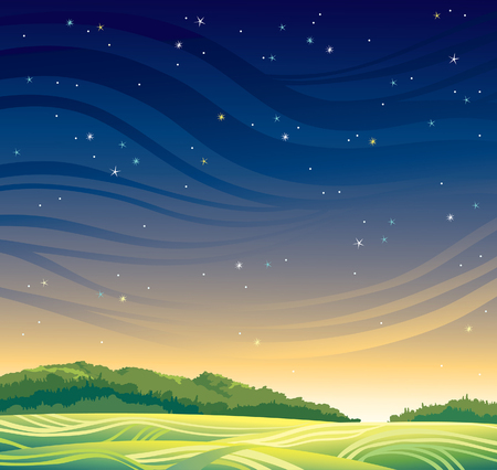 Summer magic landscape with sunset and stars.