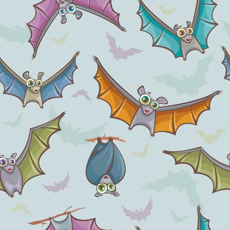 Funny seamless pattern with cartoon bats. Childish vector backdrop. Vector
