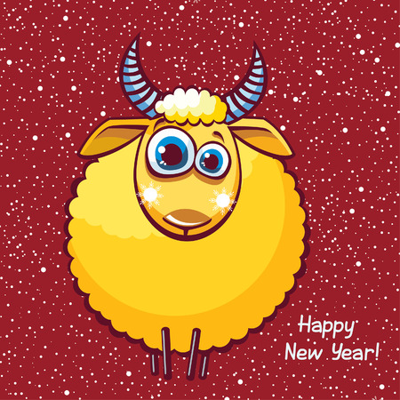 Funny yellow sheep with big blue eyes on a red background. Vector card of new year. Vector