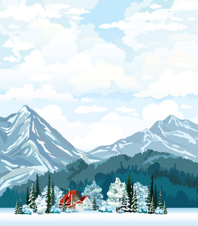 desember: Winter landscape with hut, frozen forest and mountains on a cloudy sky. Natural vector.