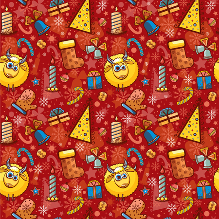 Christmas seamless pattern. Vector of new year background. Vector