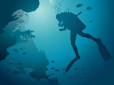 スキューバ ダイビングとサンゴ礁。水中のベクトル。  イラスト・ベクター素材