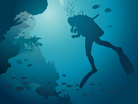 Scuba diver and coral reef. Underwater vector.