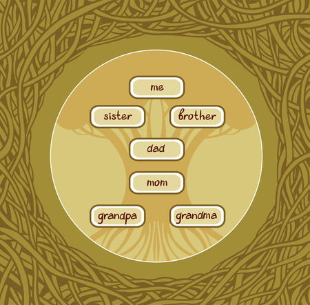 old family: Family tree in the graphic green frame. Illustration