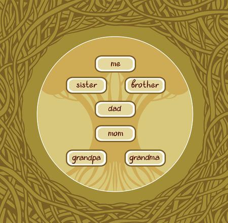 arbol geneal�gico: �rbol geneal�gico en el marco verde gr�fico.
