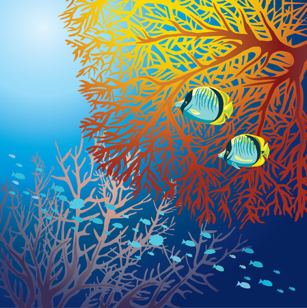 underwater light: Underwater marine life - two yellow fish and fed fire coral on a blue sea background. Illustration
