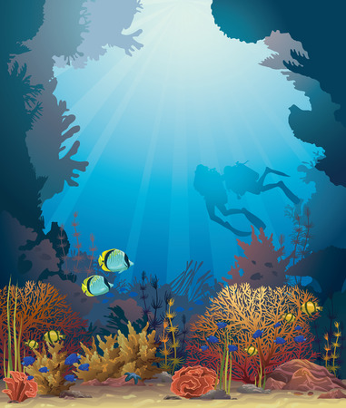 Coral reef with underwater creatures and two scuba divers on a blue ocean background. Иллюстрация