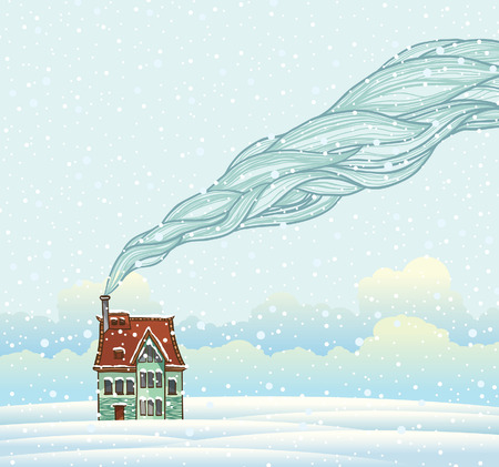 Winter landscape with cartoon house and smoke. Illustration