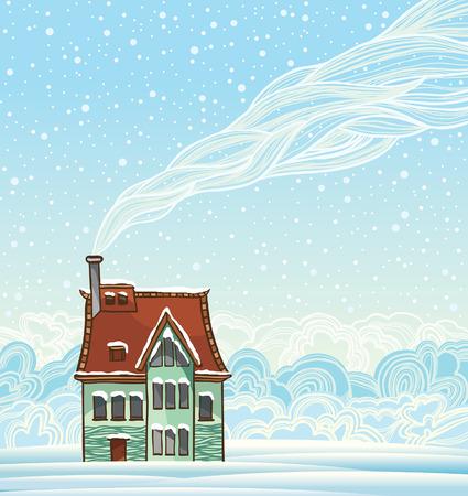 Cartoon house and smoke. Winter vector landscape. Vector